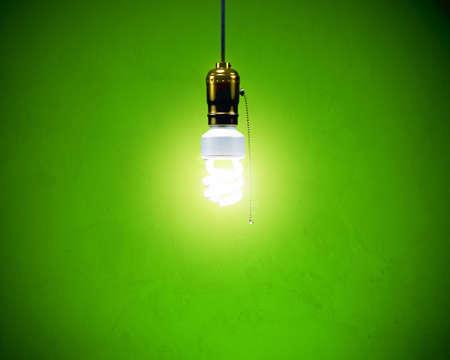 コンパクトな蛍光灯 - シンプルなフィクスチャ 写真素材