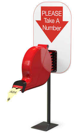 Ticket dispenser isolated on white background with support stand