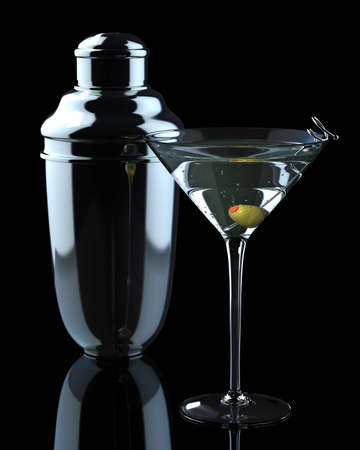 shaken: Martini and Shaker Stock Photo