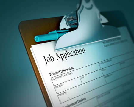 Presse-papiers avec de demande d'emploi
