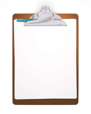 Blank Clipboard with Pen - Isolated Stock Photo