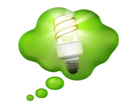 Compact Fluorescent Bulb pens�e dans une bulle