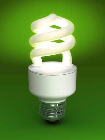 Ampoule fluorescente compacte - sur fond vert