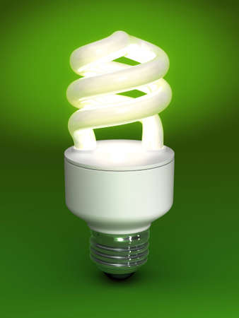 Compact Fluorescent Bulb - on green background photo