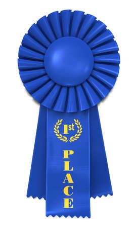 Blue Ribbon Award met de eerste plaats afgedrukt in goud.
