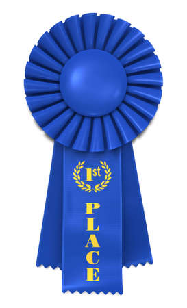 Blue Ribbon Award with First Place printed in gold. Imagens - 5452687