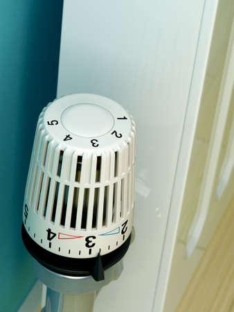 Close up of radiator thermostat dial. Slight depth-of-field.