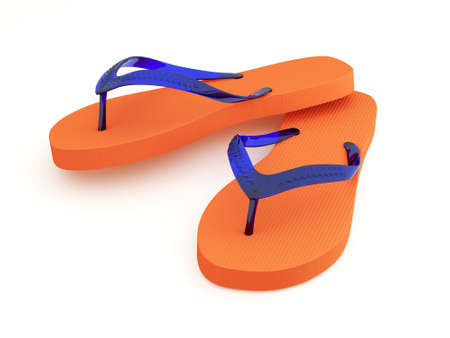 Orange flip flops isolated on white.
