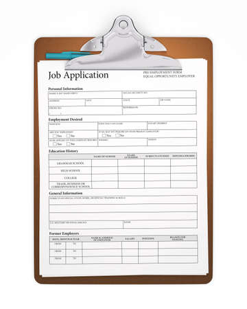 Clipboard holding a job application form with a stick pen tucked behind the clip. Sharp focus.