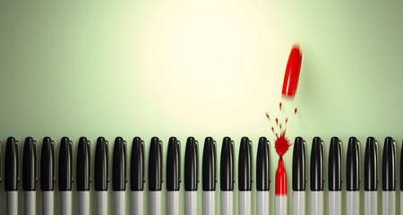 Felt tip marker breaks the line in a burst of red ink. Stock Photo
