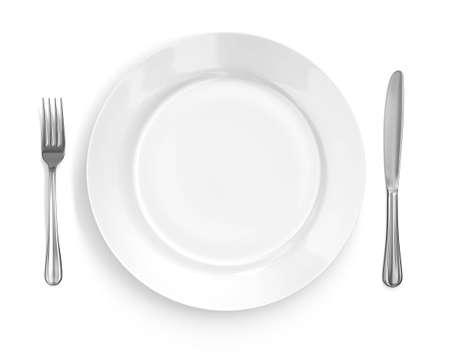Param�tre de place avec plaque brillant, couteau & amp, fork. Isol� sur fond blanc