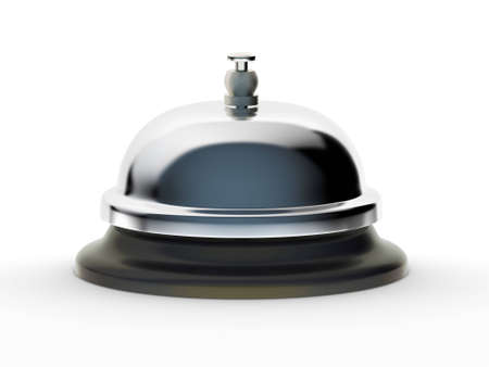 Profile of shiny service bell on white background.