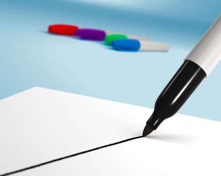soft tip pen: The first line of a felt tip marker drawing. Slight depth of field. Stock Photo