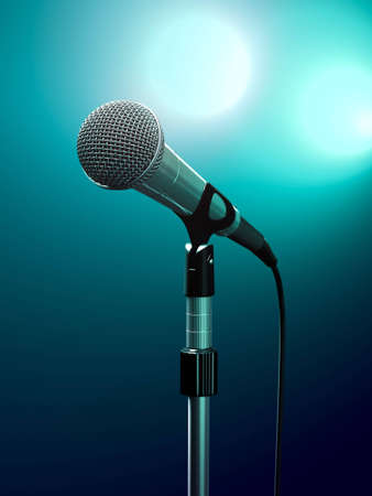 Microphone on stage with turquoise stage lights. photo