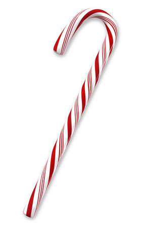 Traditional holiday candy cane isolated on white