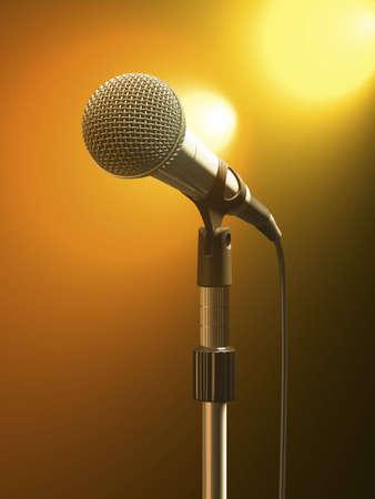 Micrófono en stand con luces de escenario naranja.