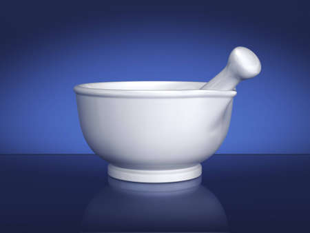 White ceramic mortar and pestle on blue background. Includes clipping path.