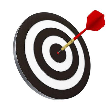 Dart rouge frapp� directement dans le Centre de la cible. Comprend le trac� de d�tourage. Banque d'images