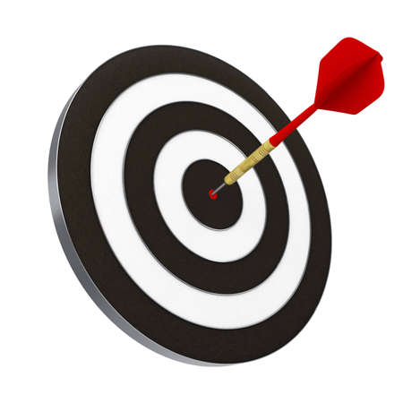 Red dart struck directly in center of target. Includes clipping path.