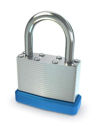 Close up of silver padlock.  Stock Photo