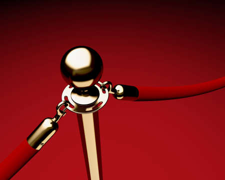 Closeup of single brass stanchion with velvet ropes. photo