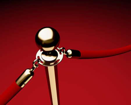roped: Detalle de puntal de lat�n �nico con cuerdas de terciopelo.