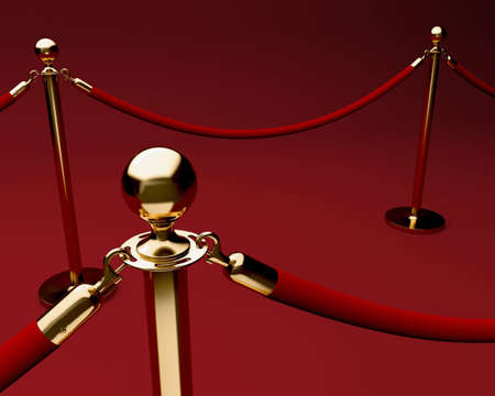 velvet rope barrier: Red carpet with velvet rope barrier and shiny brass stanchions Stock Photo