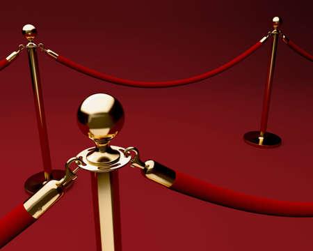 Tapis rouge avec la barri�re de corde de velours et barres laiton brillants