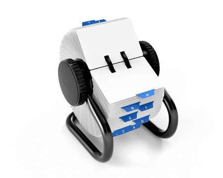 directorio telefonico: Archivo rotativo de tarjeta aislados en blanco, con trazado de recorte