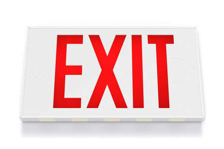 the bigger picture: Emergency Exit Sign on White Background  Stock Photo