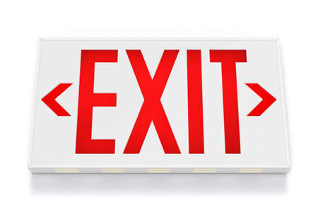 equipment: Emergency Exit Sign on White Background  Stock Photo