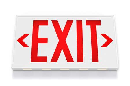 salida de emergencia: Se�al de salida emergencia en fondo blanco  Foto de archivo