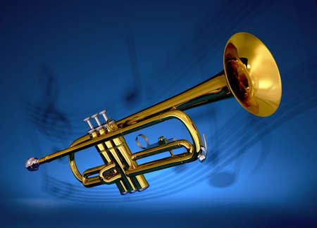 Trompette en laiton poli avec les notes musicales sur projet� contre fond bleu