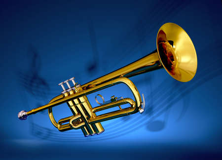 Polished brass trumpet on with musical notes projected against blue backdrop
