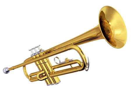 fanfare: Isolated polished brass trumpet. Includes pro clipping path. Stock Photo