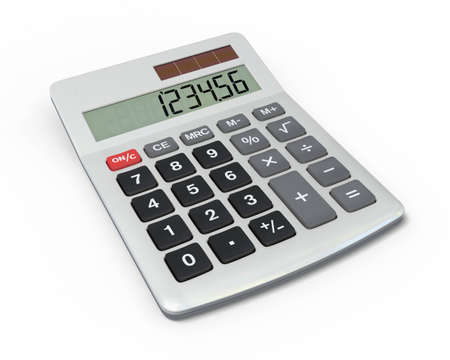Close-up of calculator with shiny metal casing isolated on white background   Stock Photo