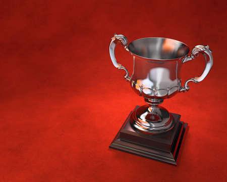 Troph�e de la Coupe orn�e sur socle en bois avec un fond rouge Comprend l'espace de copie Banque d'images