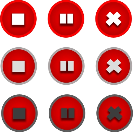 interdict: Red stop and pause icons in different performances Stock Photo