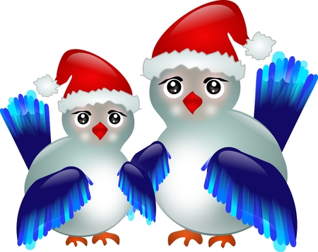 Two blue birds with Santas hat photo