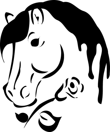 Illustration of horse head with rose illustration