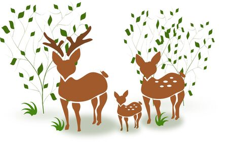 Illustration of deer family standing between trees illustration