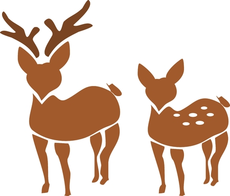 Silhouette of brown deer couple photo