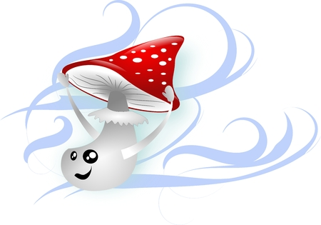 rapidity: One toadstool in wind keepink hat Stock Photo