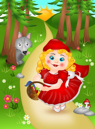 Small Red riding hood in forest with wolf photo