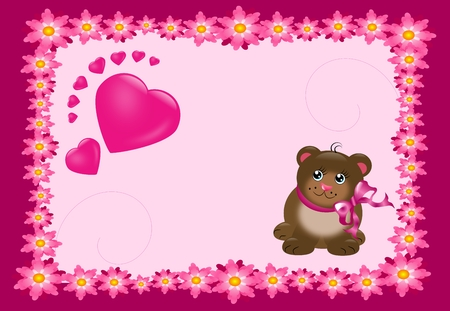 Pink card with cute bear and hearts photo