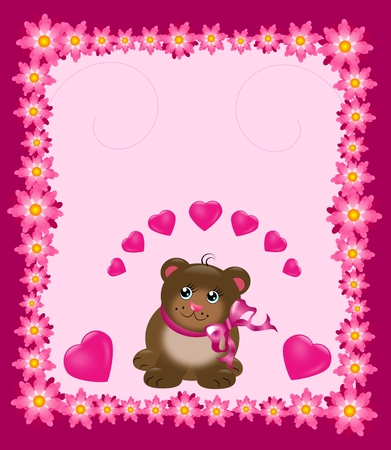 Pink card with cute bear and pink flowers photo