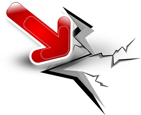 reversal: Red arrow breaking white floor Stock Photo