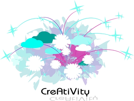 Creativity abstract template with blue clouds, star and white blooms photo