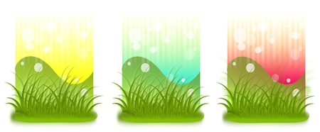 Set of three background with grass photo