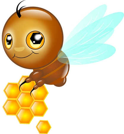 assiduous: Cute small bee carrying honey